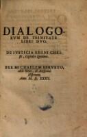 Cover Dialogorum de Trinitrate Servetus